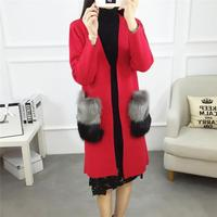 2017 Fashion Women Winter Cardigan V-neck Solid Faux Fur Pocket Female Thicken Sweaters Loose Plus Size Autumn Outwear