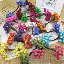 100pcs 200 Berries Double Tips Mini Pomegranates Decorative Fruit Arrangements Christmas Decorations Artificial Berry