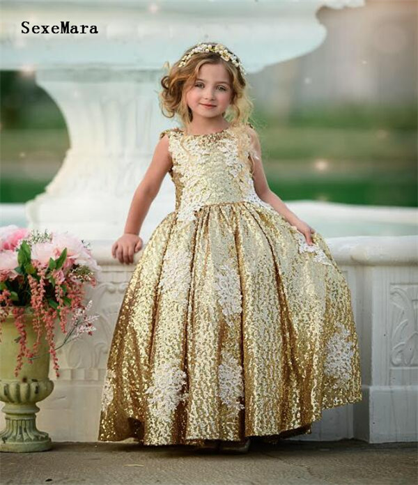 gold bling sequins girls kid birthday gown flower girl dresses princess birthday party dress white lace with pearls size2-16Ygold bling sequins girls kid birthday gown flower girl dresses princess birthday party dress white lace with pearls size2-16Y