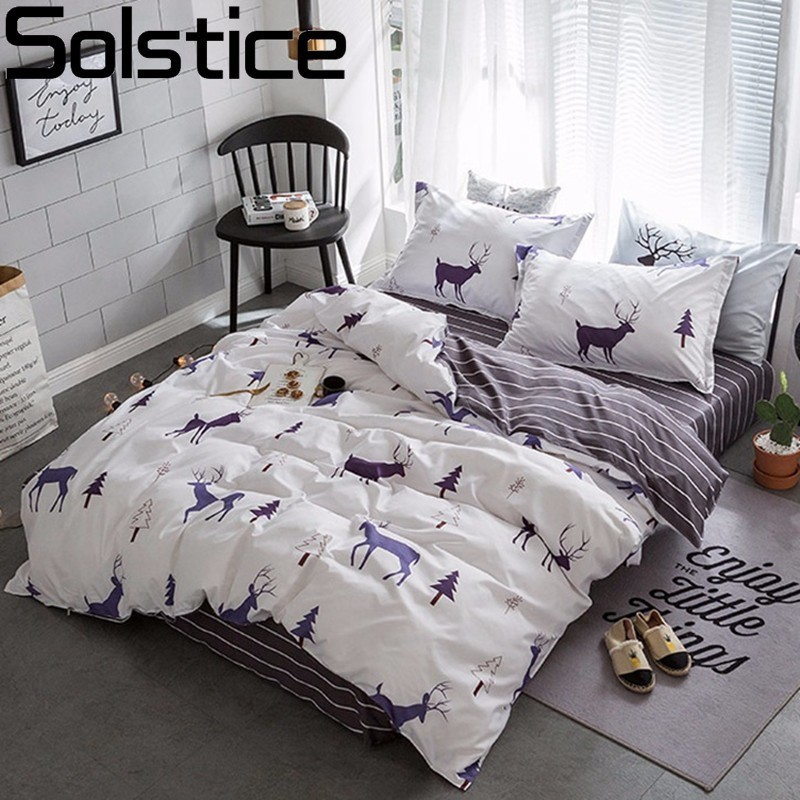Solstice Stylish Cartoon Christmas Elk Striped Star Style 3/4pcs Bedding Set Contain Duvet Cover Bed Sheet Pillowcase Bedclothes