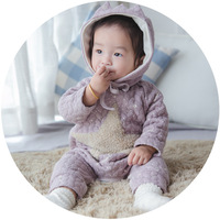 Baby Romper For Winter Autumn Girls And Boys Five Pointed Star Printing Jumpsuit Cotton Warm Romper
