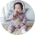 Romper do bebê Para O Outono Inverno Meninas E Meninos Estrela de Cinco pontas-Impressão Macacão De Algodão Romper Quente Com Um Chapéu Bebs Roupas