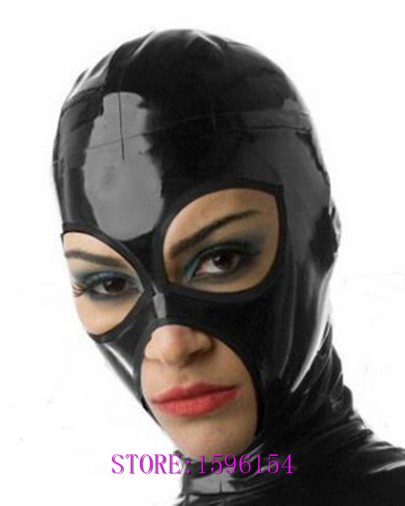 Fashion Black Rubber Hood Fetish Teddies Sexy Latex Mask for Party Club Customize Size Service