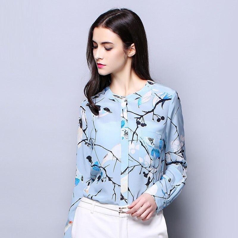 Señora Camisa Manga Larga La Pura Tela Impreso Oficina Nueva Seda Mujeres Crepe De Claro Azul 100 Natural Color Llegada Sw6PEOqq