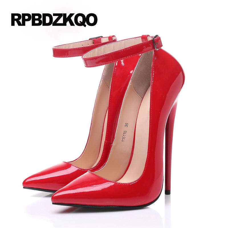 98939e57ada Thin Pumps 16cm Ankle Strap Black Red Sexy Super High Heels Fetish Big Women  Shoes Size