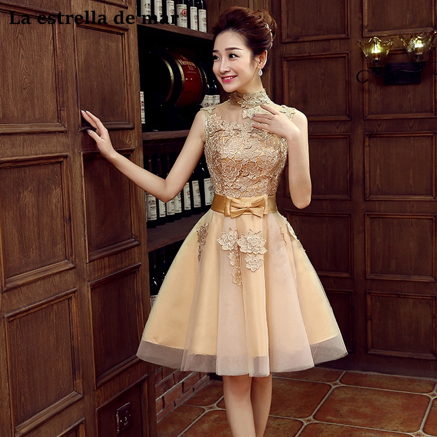 Robe demoiselle d'honneur2018 new high neck lace cap sleeve a line gold   bridesmaid     dresses   short wedding guest   dress   cheap