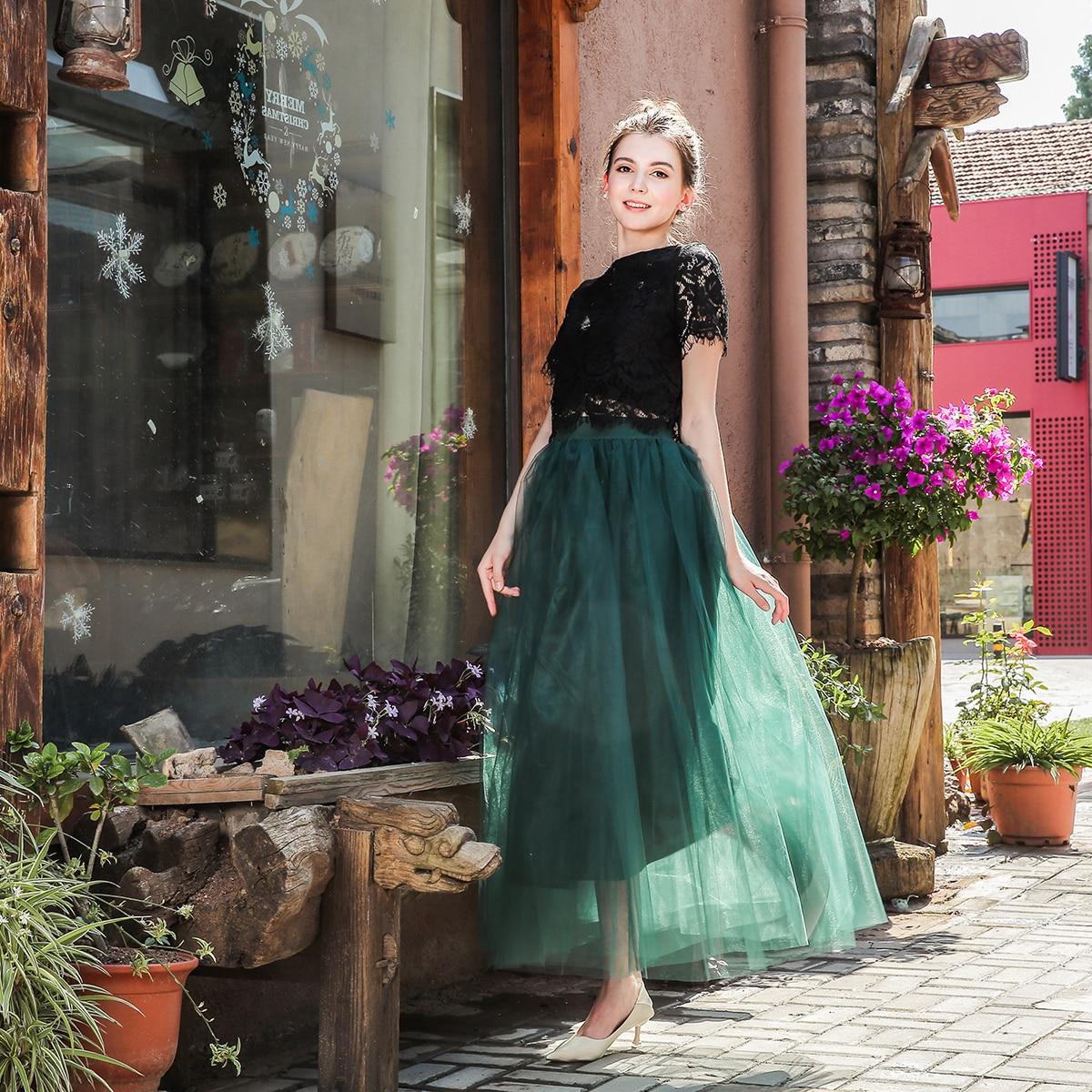 4 shtresa 100cm 2018 Maxi Long Tutu Tulle Funde Femra Pantallona të - Veshje për femra - Foto 4
