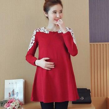 0ea99b5b9 Okaymom Maternidad blusa camisa ropa embarazo desgaste Tops Camisetas Tees  ropa negro rojo Encaje vestido para las mujeres embarazadas 2018