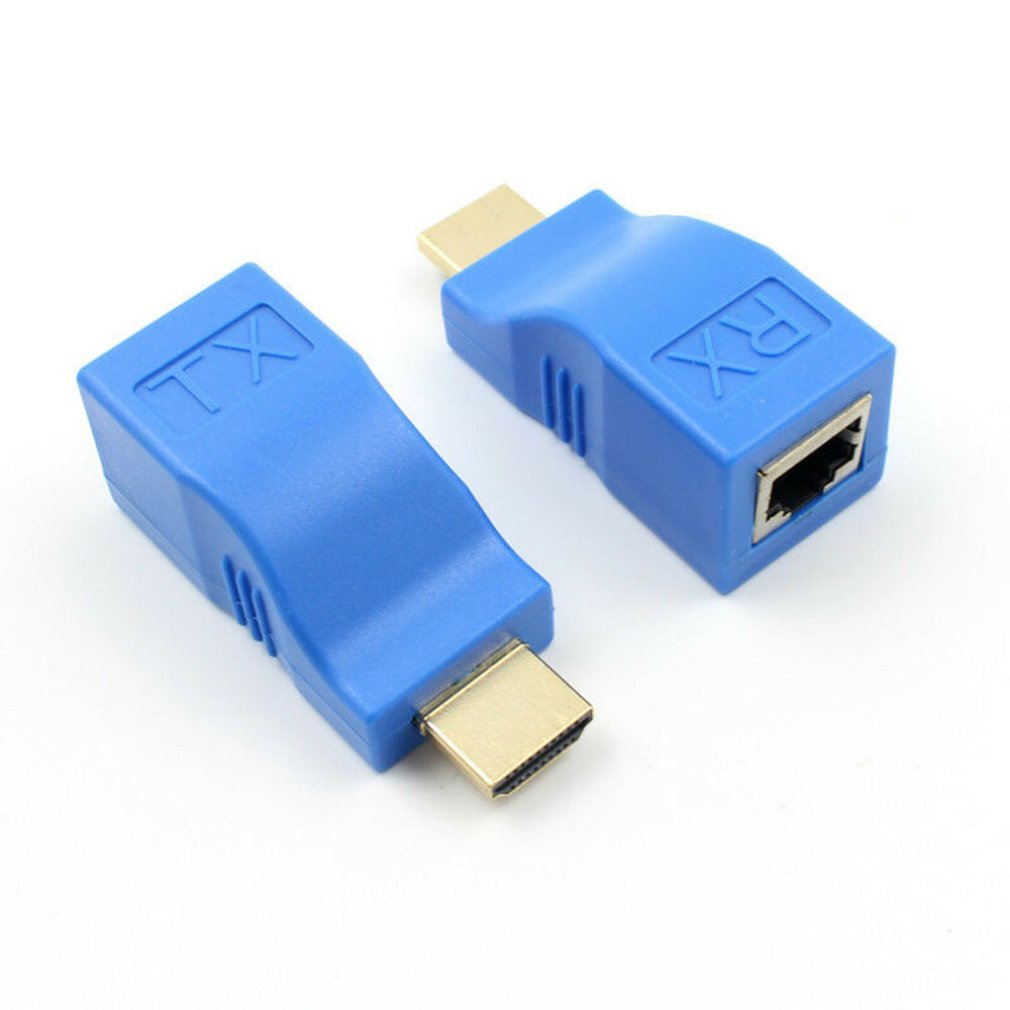 2pcs 1080P <font><b>HDMI</b></font> <font><b>Extender</b></font> to <font><b>RJ45</b></font> Over Cat 5e/6 Network Adapter Signal Amplifier For HDTV Display image
