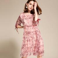 100 Silk Dress Women Printed O Neck Three Quarter Sleeves Cascading Ruffle Grade Fabric Cute Style