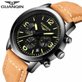 Hot GUANQIN Casual Men Watches Brand Luxury Men's Quartz Watch Waterproof Sport Military Watches Men Leather relogio masculino