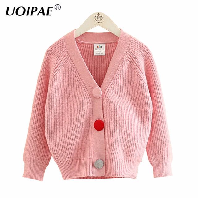 Uoipae Girls Cardigan Sweater Kids 2018 Spring Color Buttons Girls