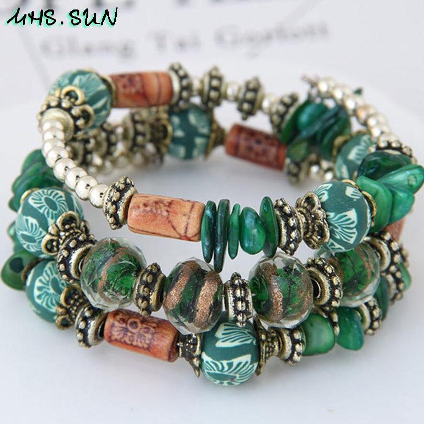 3-1Bohemia Ethnic Bracelets Vintage Colorful Beads Shell Crystal Bangle Bracelets Women National Customs Jewelry For Party