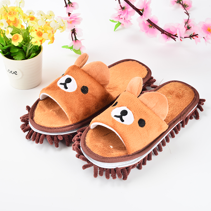 Cartoon Bär Scrub Abnehmbare Chenille Dust Mop Haushalts Slipper Home Accessoires