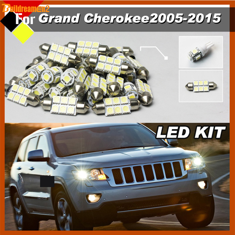 Buildreamen2 Car Suv Interior Bulbs Led Kit Package White 12v High Power Fit For Jeep Grand