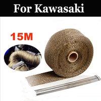 15m Titanium Exhaust Heat Wrap Roll For Motorcycle Fiberglass Heat Shield For Kawasaki Kmx 125 200 125 Kr 250 750 Krr Zx Versys