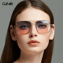 Ou Mo brand square zonnebril dames polarized Sunglasses Women/Men Reflective For Women Men flat lens sun glasses UV400