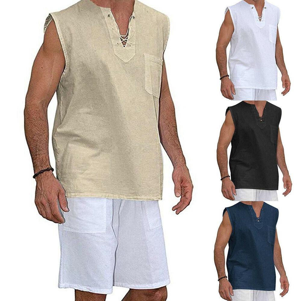 Fashion Mens T Shirt Sleeveless Linen Shirts Casual Breathable Soft V Neck Top