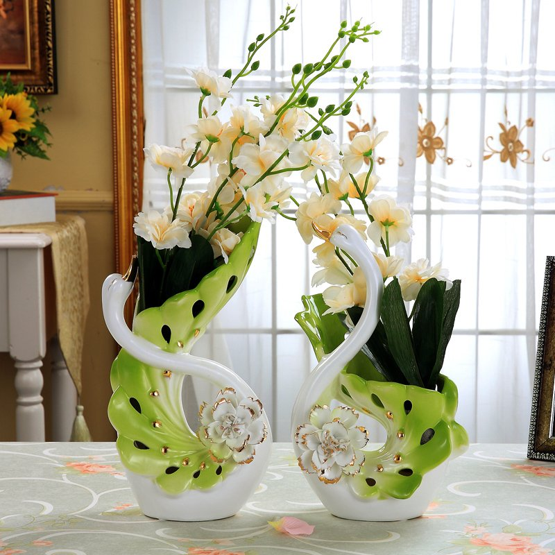 Ceramic Swan Flowers Vase Home Decor Crafts Room