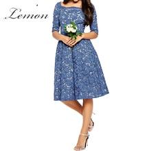 Lemon Lace Blue Sexy Slim A Line Dress Floral Print Half Sleeve Lace Midi Dress High