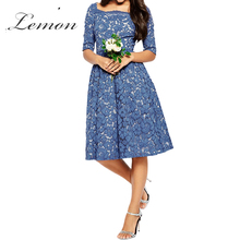 Lemon Lace Blue Sexy Slim A Line Dress Floral Print Half Sleeve Lace Midi Dress High Elastic Waist Party Dress Wedding Vestido