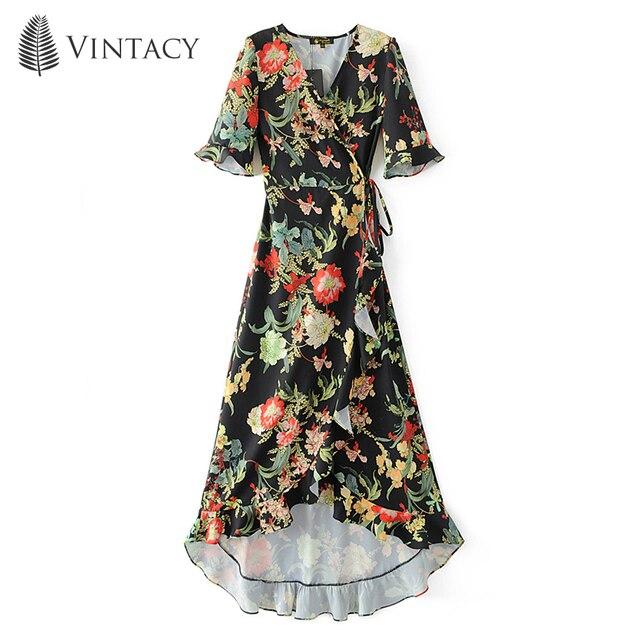 Black Floral Chiffon Dress