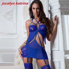 jocelyn katrina brand 2017 Hot women's lingerie sexy bud silk pajamas exotic adult nightgown lingerie garters temptation