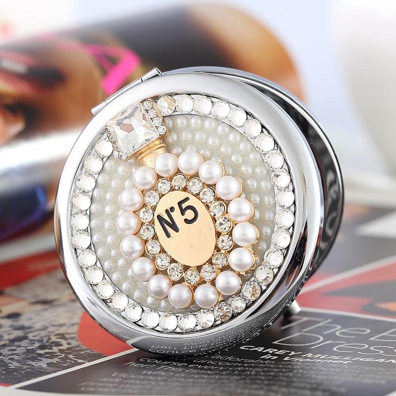 Gravieren Sie Wörter frei, bling Rhinestoneparfümflasche, Kompaktspiegelverfassung des Mini Beauty-Taschenmake-up, Hochzeitsgeschenkgeschenke