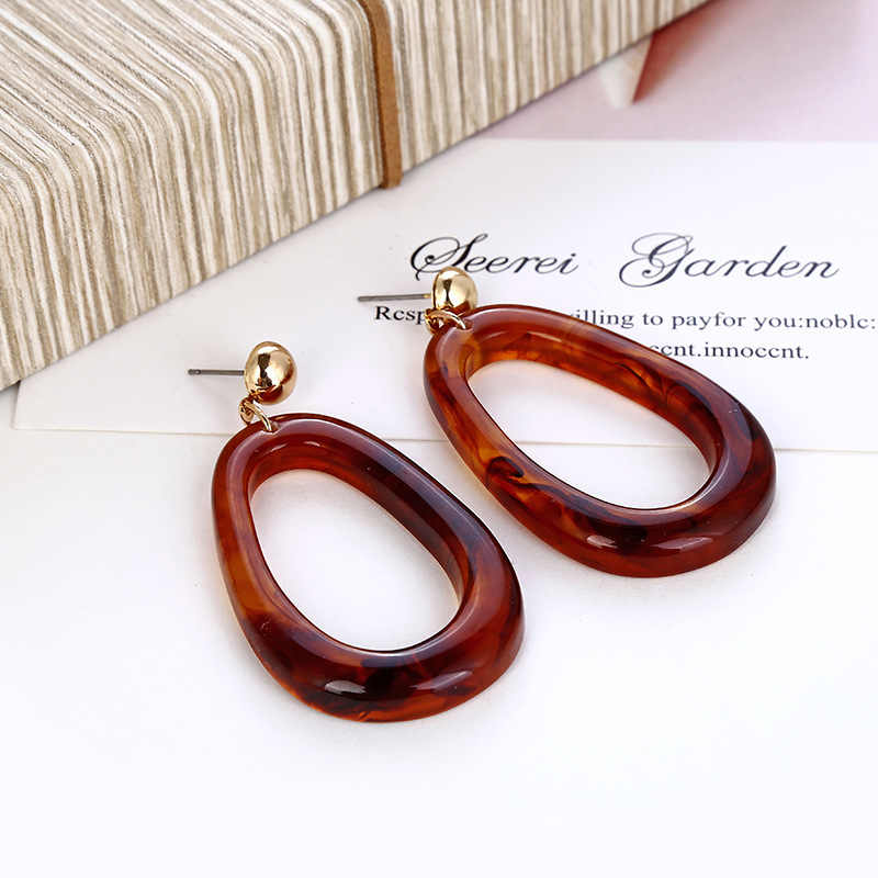 Vintage Geometry Acrylic Drop Earring for Women Big Resin Brown Statement Dangle Earring 2018 Fashion Party Charm Jewelry