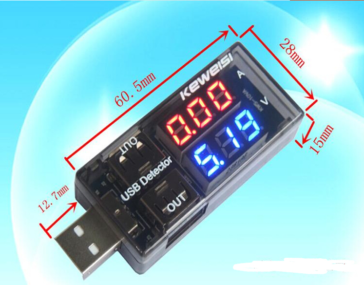 2016 newest Black color  USB Current Voltage Tester USB Voltmeter Ammeter Detector Double Row Shows New  DROPSHIPPING  #0149 usb current voltage charging detector mobile power current and voltmeter ammeter voltage usb charger tester double row shows h7