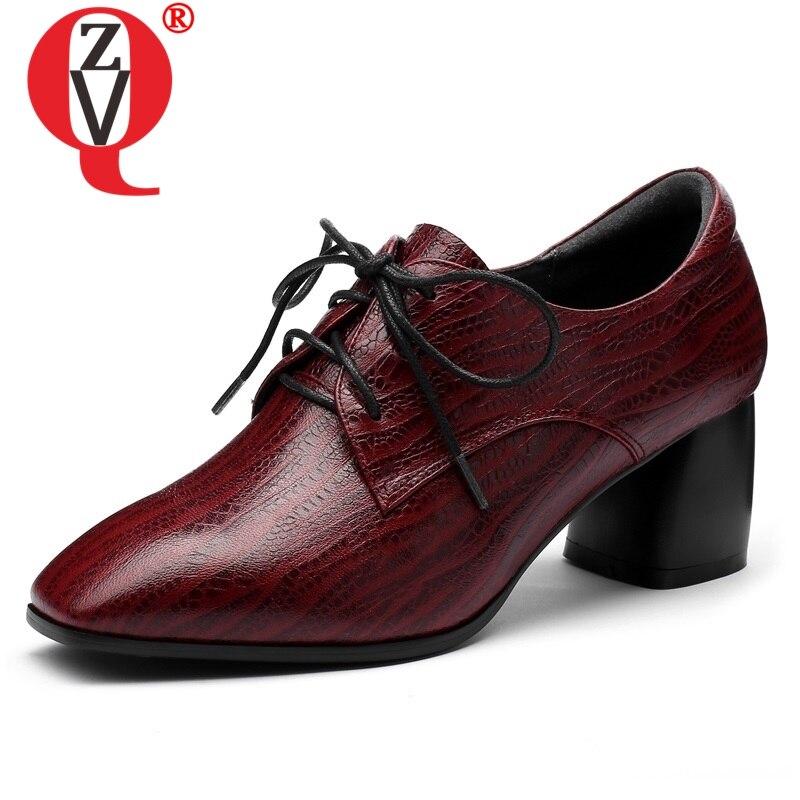 ZVQ أحذية النساء 2019 الربيع جديد ساحة الموضة تو عبر تعادل مكتب المرأة مضخات خارج عالية كعب مربع أسود النبيذ حذاء أحمر-في أحذية نسائية من أحذية على  مجموعة 1