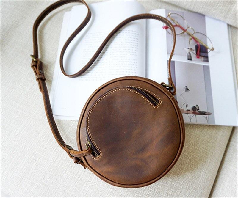 PNDME vintage round genuine leather ladies shoulder bag original handmade cowhide leather brown women 39 s wheel messenger bags in Shoulder Bags from Luggage amp Bags