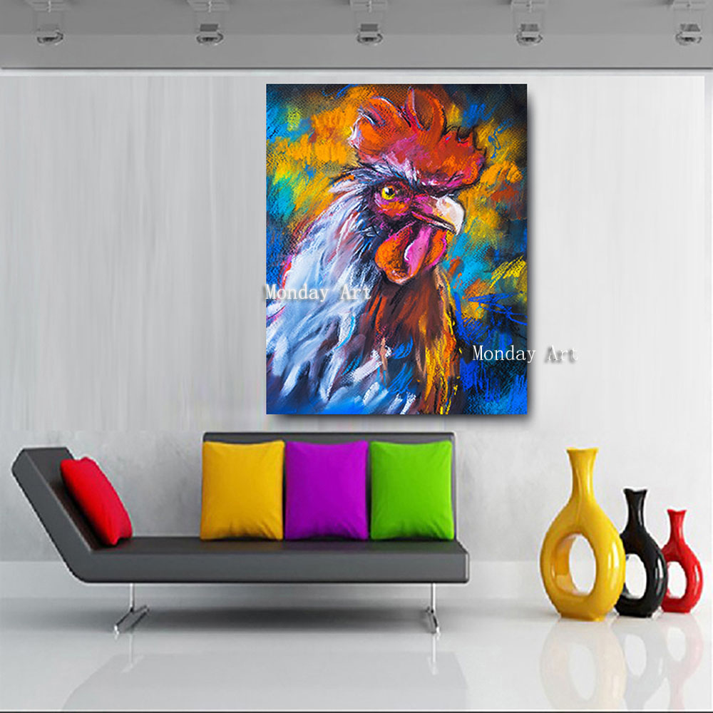 J Embelish-HD-Print-Canvas-Oil-Paintings-For-Living-Room-Colorful-Rooster-On-A-Cardboard-Animals-Wall (3)