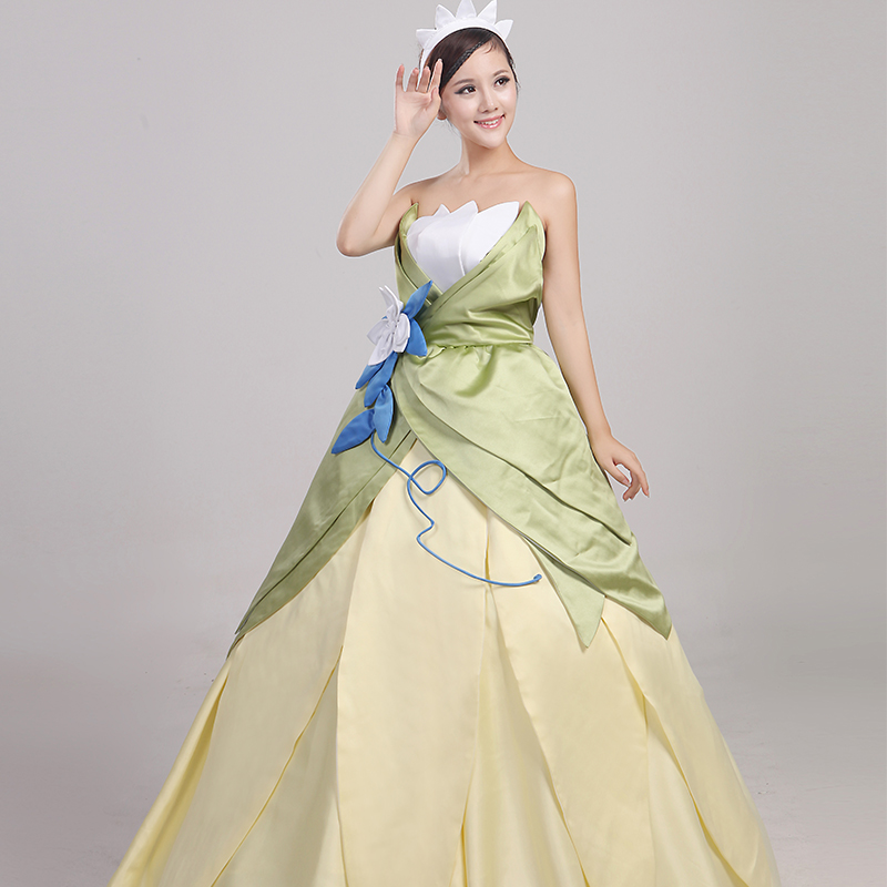 Wonder woman cosplay The Princess and the Frog costume adult princess tiana dress for Halloween costume long green Party dress (2)