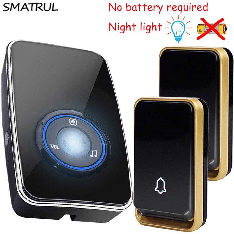 SMATRUL autoalimentato Impermeabile Senza Fili Bell Porta sensore di luce di notte nessuna batteria spina di UE intelligente Campanello pulsante 2 1 Ricevitore 220 V