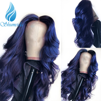 SHD Dark Blue Lace Front Wigs with Pre Plucked Hairline Brazilian Remy Hair Body Wave Lace Front Human Hair Wig with Baby Hair 3