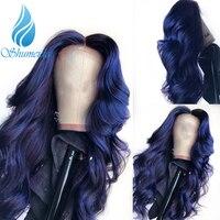 SHD темно синие кружевные передние парики с предварительно выщипанные волосы бразильские волнистые волосы 13*6 волосы на кружеве al парик с вол