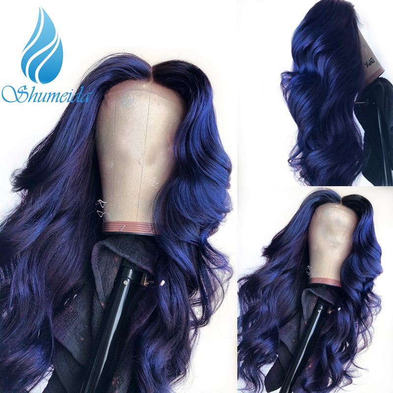SHD 13*3 Dark Blue Lace Front Wigs with Pre Plucked Hairline Brazilian Body Wave Lace Frontal Wig with Baby Hair Remy Human Hair-in Human Hair Lace Wigs from Hair Extensions & Wigs