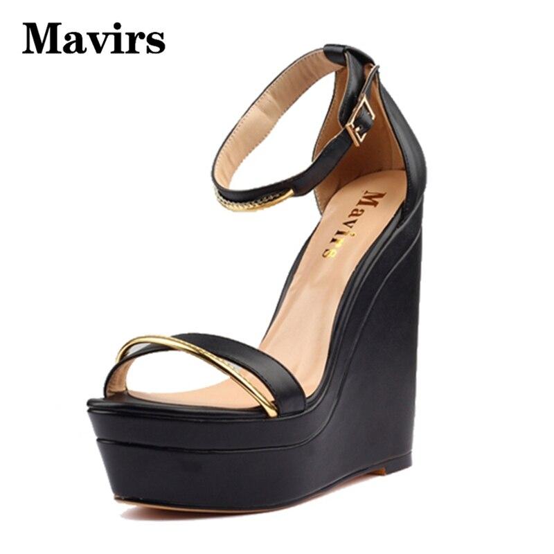 ФОТО MAVIRS Woman Summer Wedges  Gladiator Sandals Women Pumps Platform High Heels Peep Toe Ankle Strap Metal Female Shoes Black