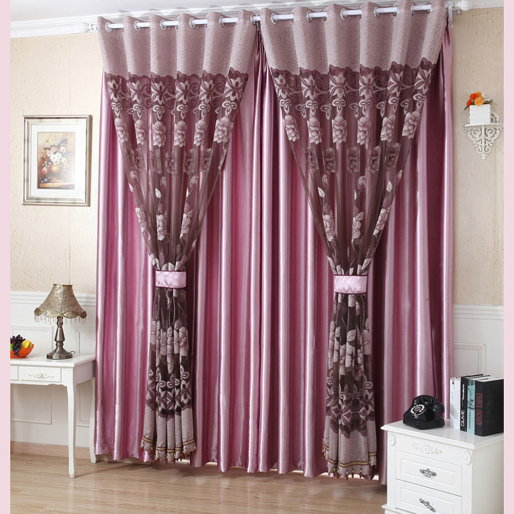 2016 New Flower Pattern Sheer Panel Drape Curtains With Grommet