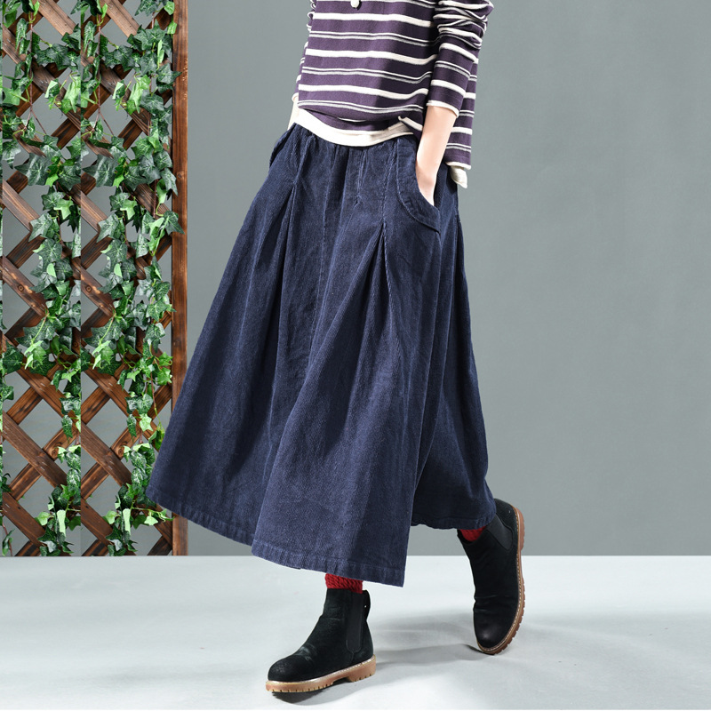 Image 4 - winter long skirts women  net color restoring ancient ways corduroy double ChaDou posed the a line skirt girl leisure female-in Skirts from Women's Clothing