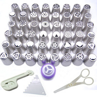 49PCS Nozzles Coupler Russian Tips Tulip Stainless Steel Icing Piping Pastry Decorating Tips Cake Cupcake Decorator