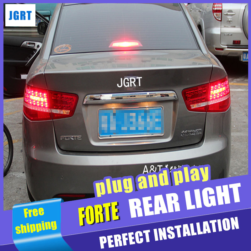 Car Styling for Kia Forte Taillight assembly 2010 2013 Cerato LED Tail Light Forte Rear Lamp DRL+Brake with hid kit 2pcs.