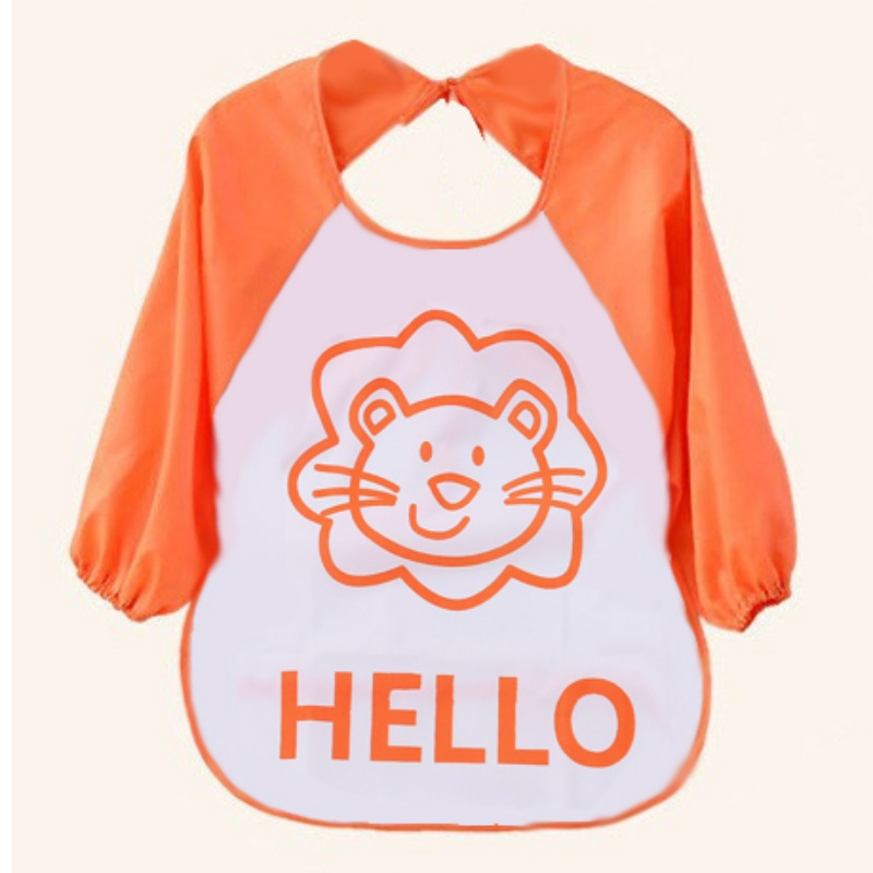 1-3 Years Children Bib Cartoon Printed Long Sleeve Baby Bib Infant Waterproof Apron Clothing