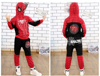 Hot Sale Clothes Boys 2016 New Arrival Hoodied Boys Clothes Sets Spider Man Winter