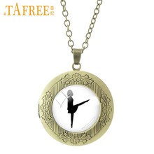 TAFREE Ballet girl Necklace classical locket simple sweet round dome glass  fashion cabochon for women jewelry NS131 30e747c23e4c