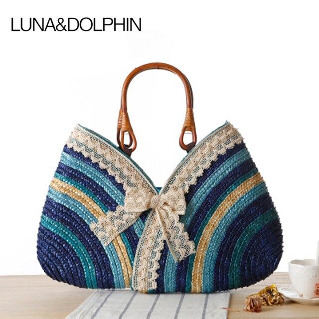 Luna & Dolphin Diseñador Bowknot Totalizador de Compras Bolso Tejido ...