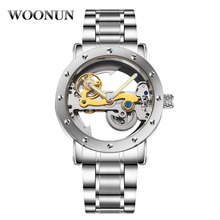 цена Men Tourbillon Watches Fashion Skeleton Holow Transparent Watches Men Automatic Mechanical Watches Stainless Steel Men Watches онлайн в 2017 году