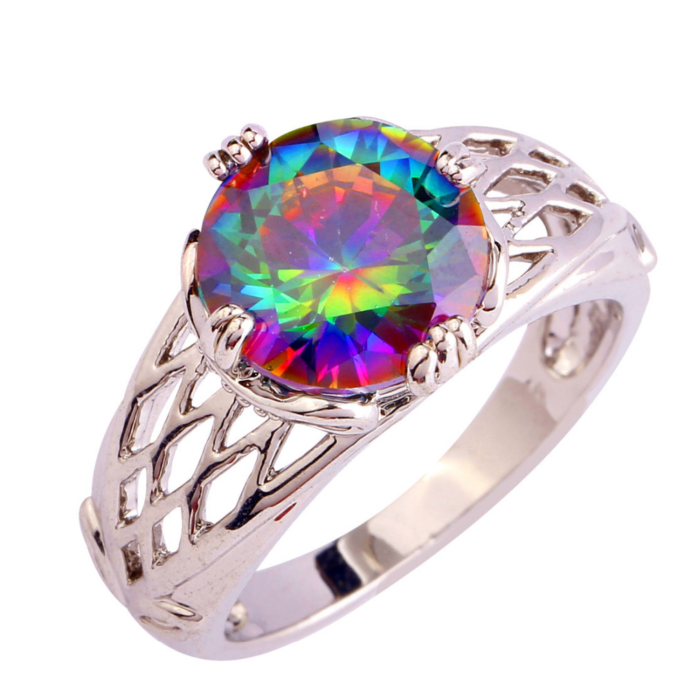 Lingmei New Wedding Jewelry Women Multi Color Rainbow CZ