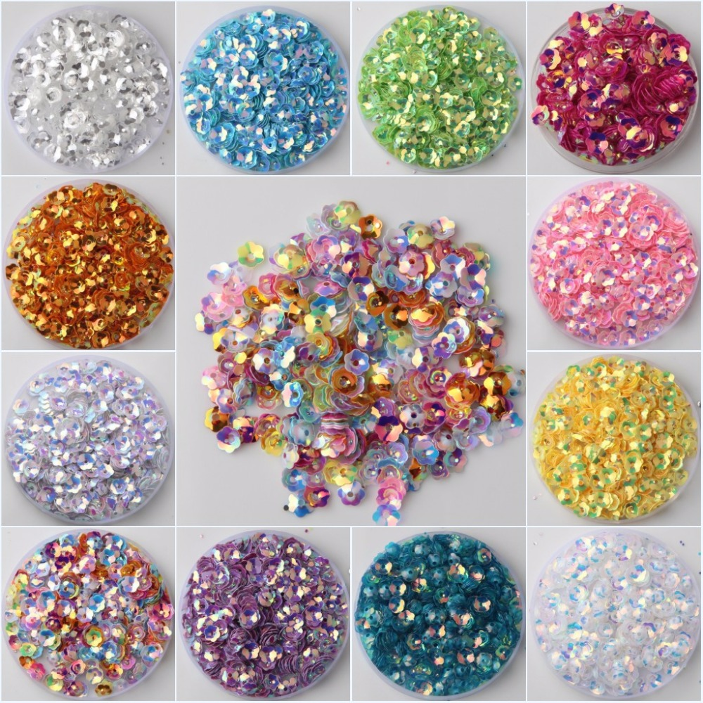 2000pcs/Lot 6mm Plum Blossom Cup Flower Loose Sequins Sewing Material,Wedding Confetti C ...